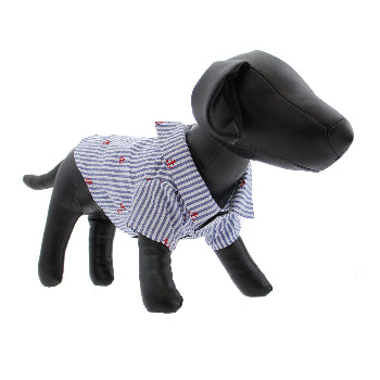 The Worthy Dog Navy Striped Anchor Dog Shirt-Paws & Purrs Barkery & Boutique