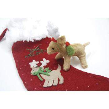 Oscar Newman Naughty or Nice Christmas Dog Stocking w/Reindeer Toy-Paws & Purrs Barkery & Boutique