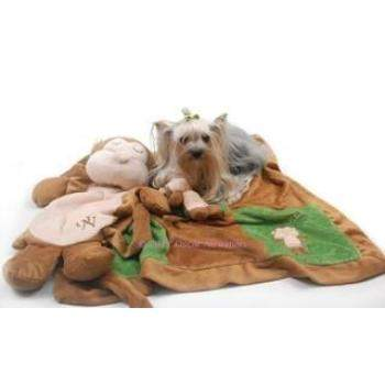 Oscar Newman Sleep Over Monkey Dog Blanket & Toy Set