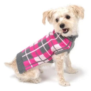 Oxford Plaid Pink Roll Neck Dog Sweater.