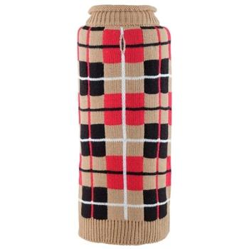 Oxford Plaid Tan Roll Neck Dog Sweater.