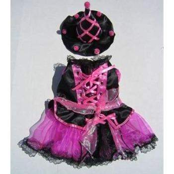 Halloween Pink PomPom Witch Small Dog Costume