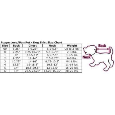 Pampet Puppe Love Costume Size Chart