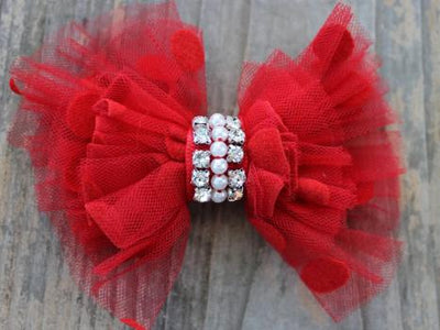 Diva Dog Red Party Dress Removable Dog Collar Bow-Paws & Purrs Barkery & Boutique
