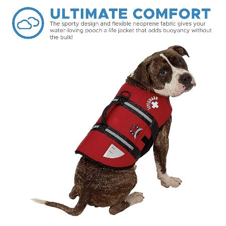 Paws Aboard Red Neoprene Dog Life Jacket.-Paws & Purrs Barkery & Boutique
