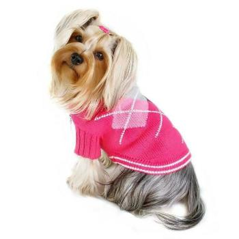 Argyle Pattern Turtleneck Dog Sweater - Pink.
