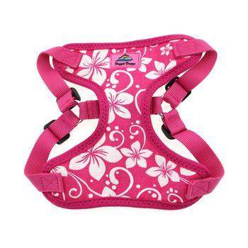 Wrap & Snap Choke Free Dog Harness - Pink Hibiscus.