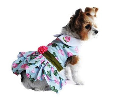 Doggie Design Pink Rose Dog Harness Dress with Matching Leash-Paws & Purrs Barkery & Boutique