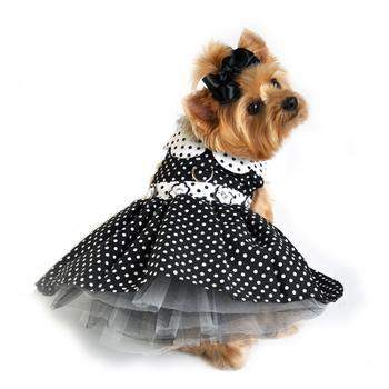 Doggie Design Black and White Polka Dot Dog Harness Dress-Paws & Purrs Barkery & Boutique