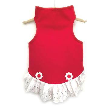 Daisy & Lucy Red Jersey with Eyelet & Flowers Dog Dress -Paws & Purrs Barkery & Boutique