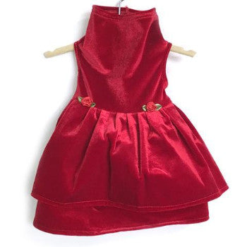 Daisy & Lucy Red Stretch Velvet Holiday Dog Dress-Paws & Purrs Barkery & Boutique