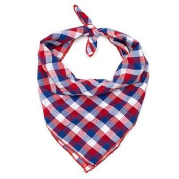 The Worthy Dog Red, White & Blue Check Tie Dog Bandana-Paws & Purrs Barkery & Boutique
