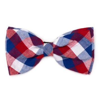 Red, White & Blue Check Dog Bow Tie.
