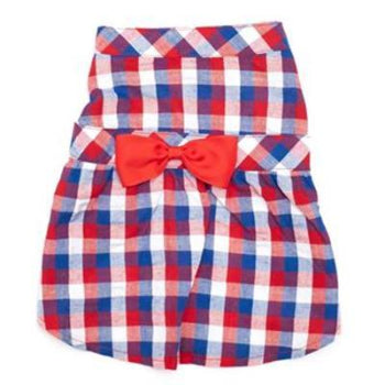 Red, White & Blue Check Dress.