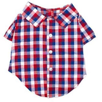 Red, White & Blue Check Dog Shirt.
