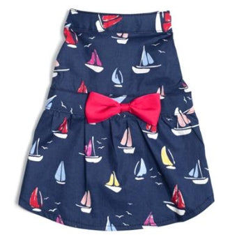 The Worthy Dog Navy Sailboats Dog Dress-Paws & Purrs Barkery & Boutique