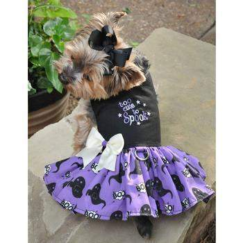 Doggie Design Too Cute To Spook Halloween Purple & Black Dog Dress-Paws & Purrs Barkery & Boutique