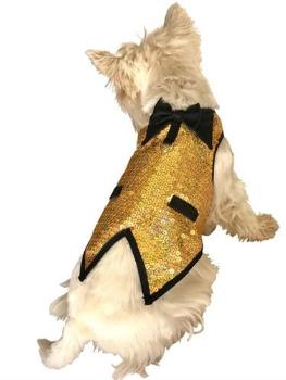 Dog Squad Gold Krugerrand Sequined Gentlemen's Dog Tuxedo-Paws & Purrs Barkery & Boutique