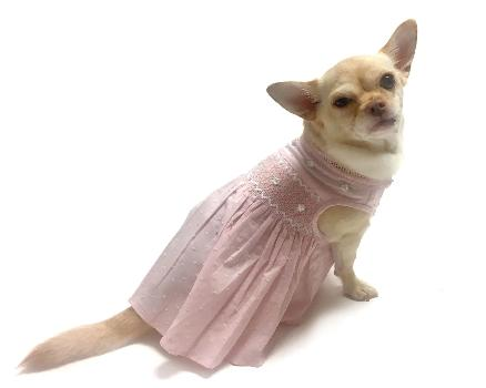 Oscar Newman Undottedly Pink Hand-Smocked Dog Dress-Paws & Purrs Barkery & Boutique