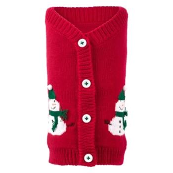 Worthy Dog Red Snowmen Dog Cardigan Sweater-Paws & Purrs Barkery & Boutique