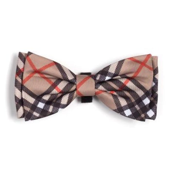 Bias Plaid Tan Dog Bow Tie