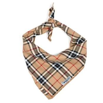 The Worthy Dog Tan Plaid Tie Dog Bandana-Paws & Purrs Barkery & Boutique