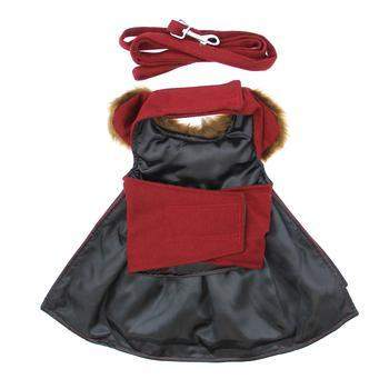 Doggie Design Wool Fur-Trimmed Dog Harness Coat-Burgundy-Paws & Purrs Barkery & Boutique