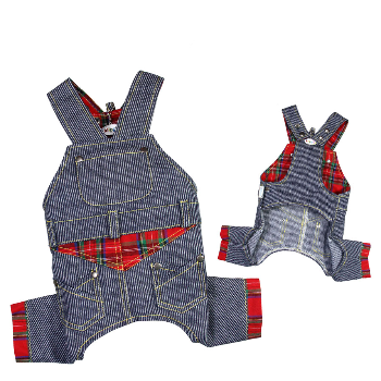Klippo Adorable Stripy Denim Dog Overall-Paws & Purrs Barkery & Boutique