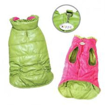 Klippo Lime Green & Pink Reversible Puffer Dog Vest with Ruffle Trim-Paws & Purrs Barkery & Boutique