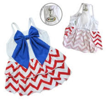 Klippo Red, White & Blue Large Bow Dog Sundress-Paws & Purrs Barkery & Boutique