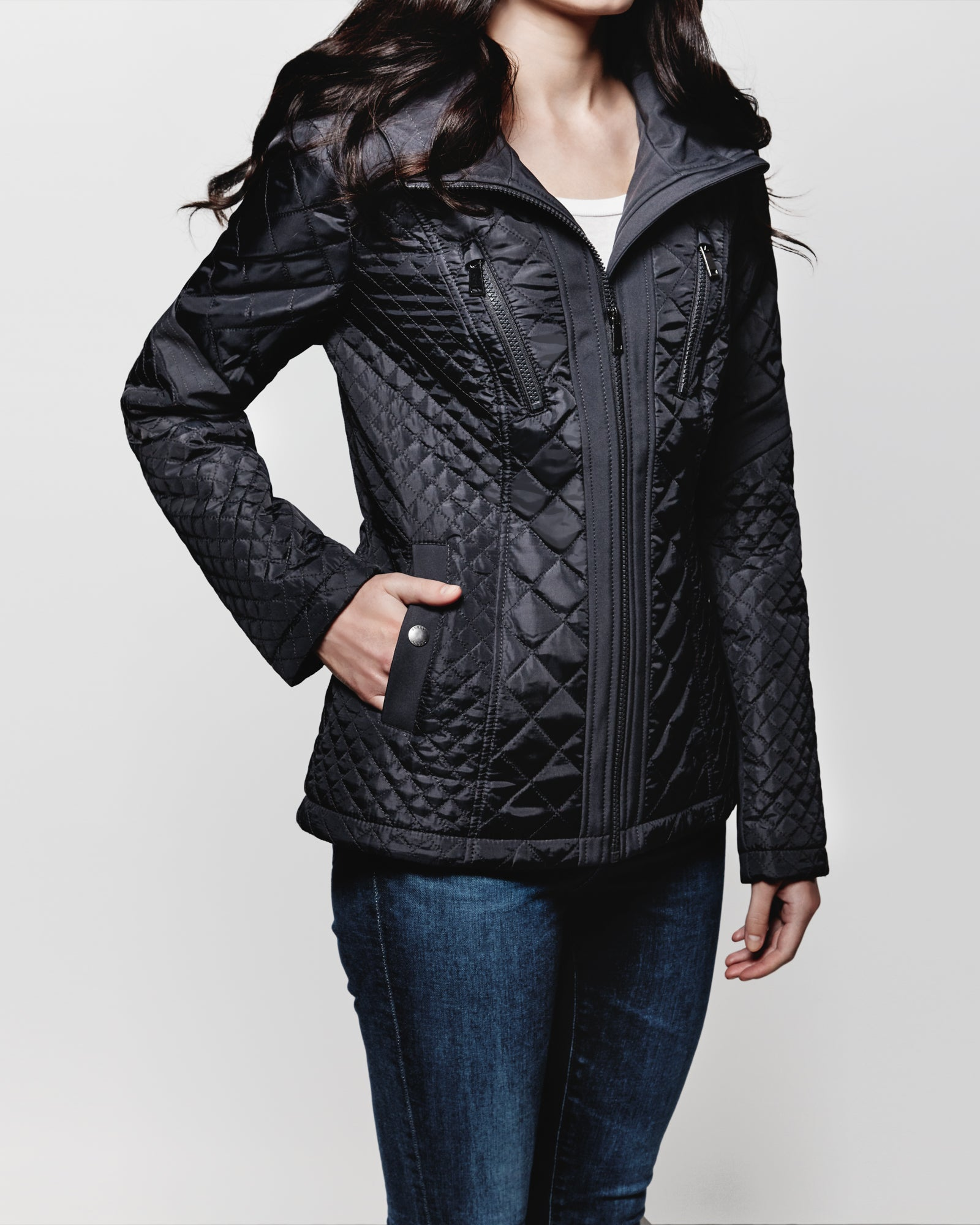 Hooded zip front quilt jacket