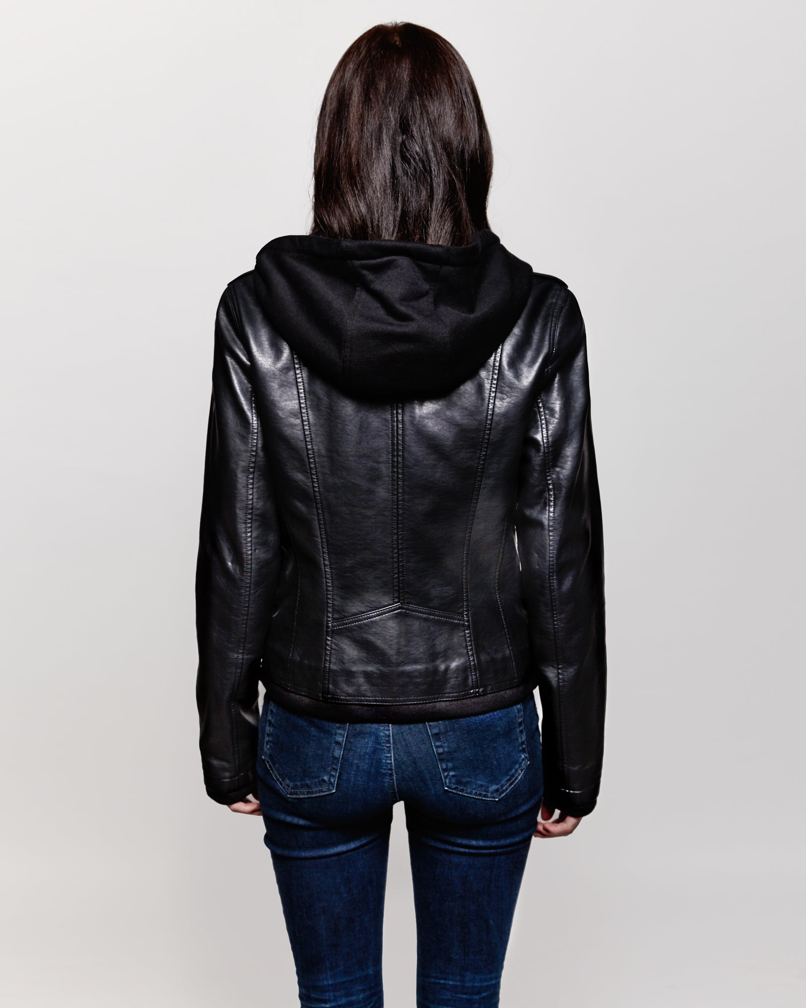 Faux leather with bib and hood jacket