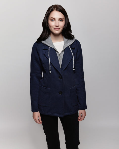 Fleece blazer with contrast bib and hood