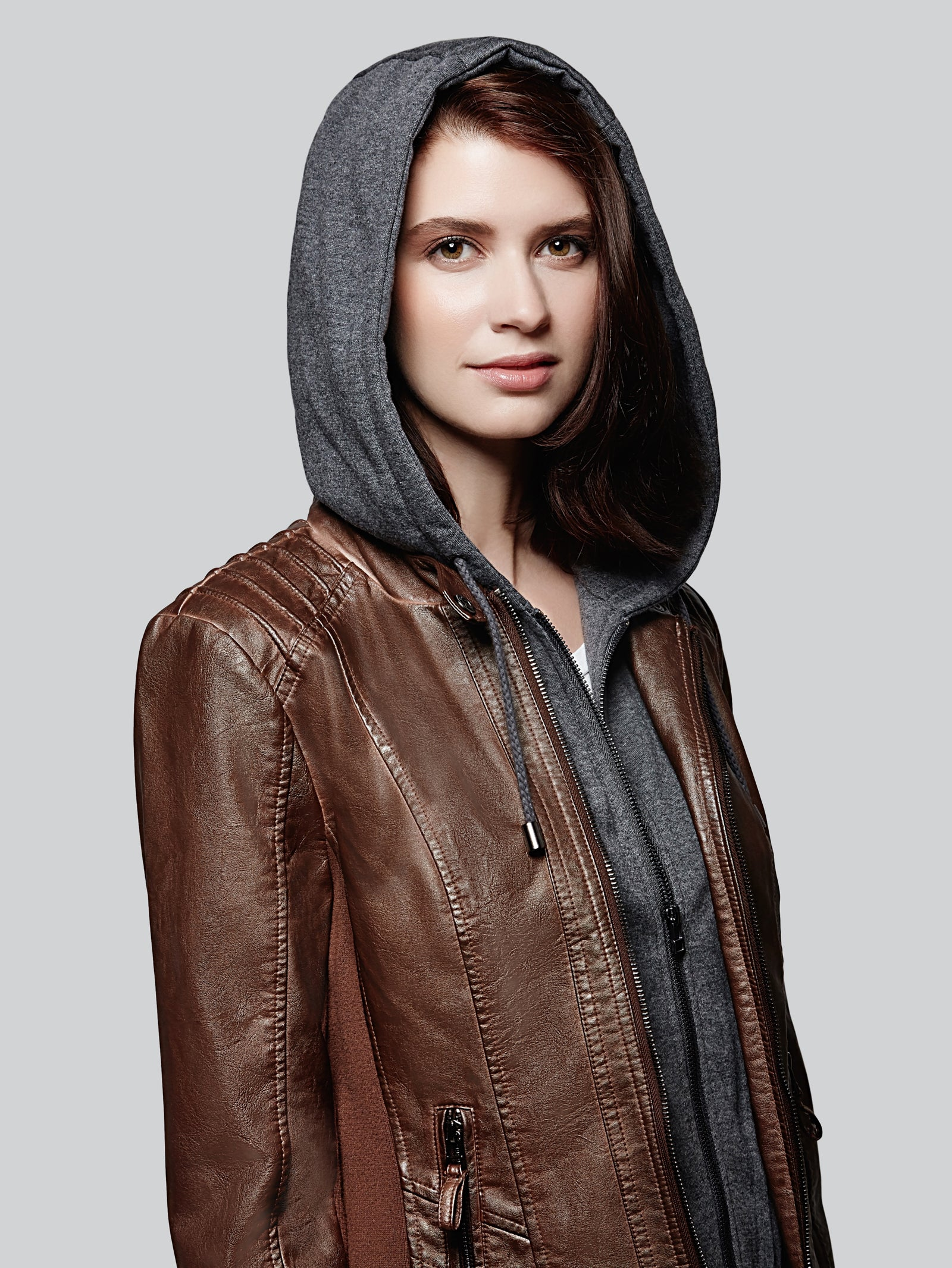 Faux leather with fleece contrast bib and hood jacket