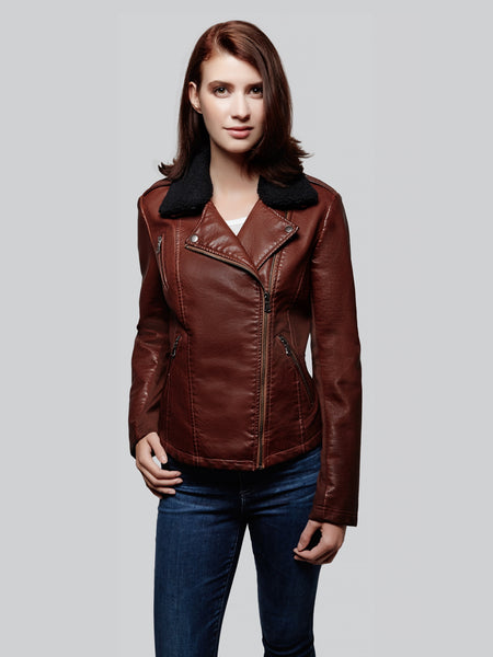 Asymmetrical zip moto faux leather with sherpa collar jacket