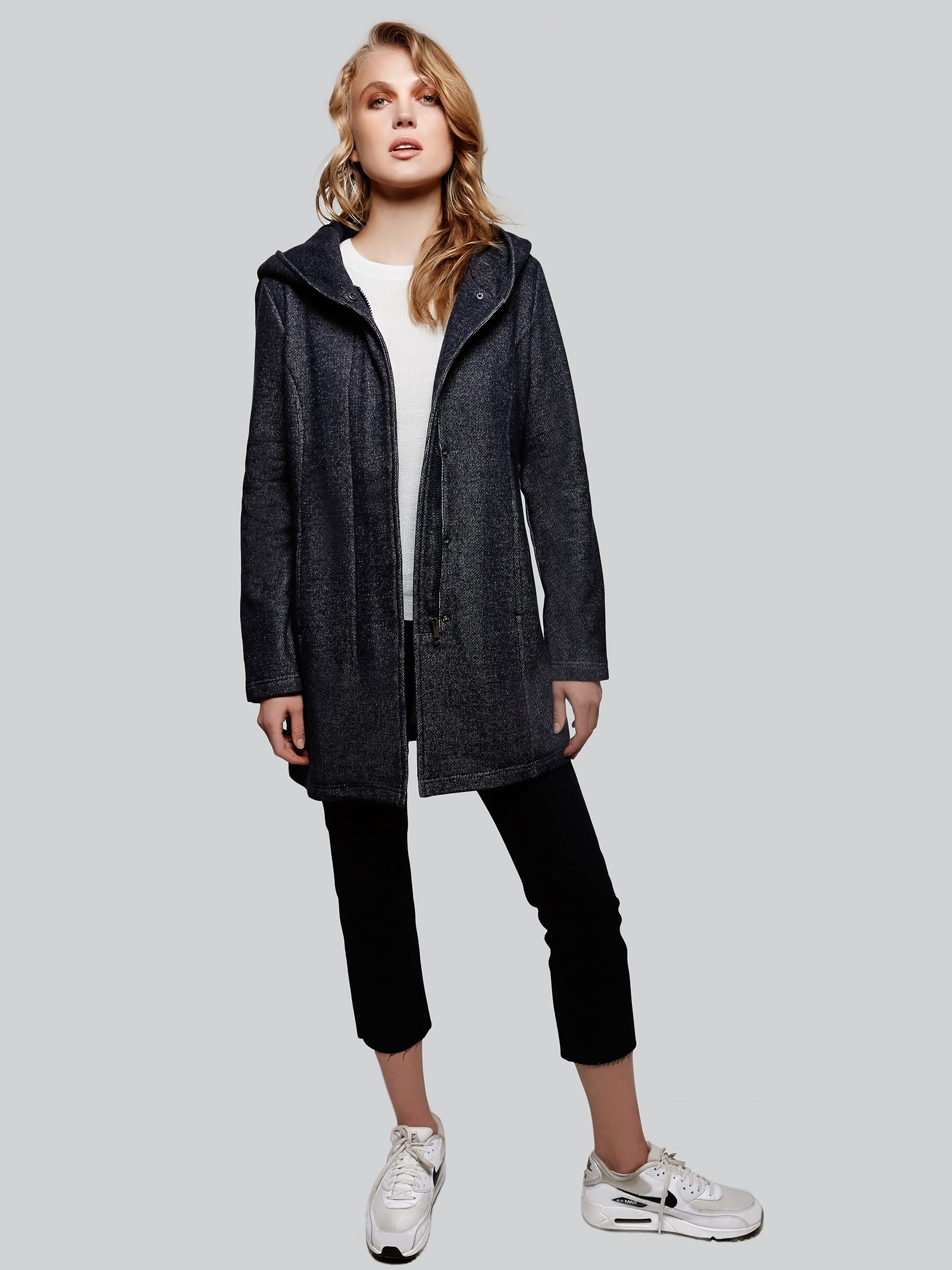 Long hooded fleece coat