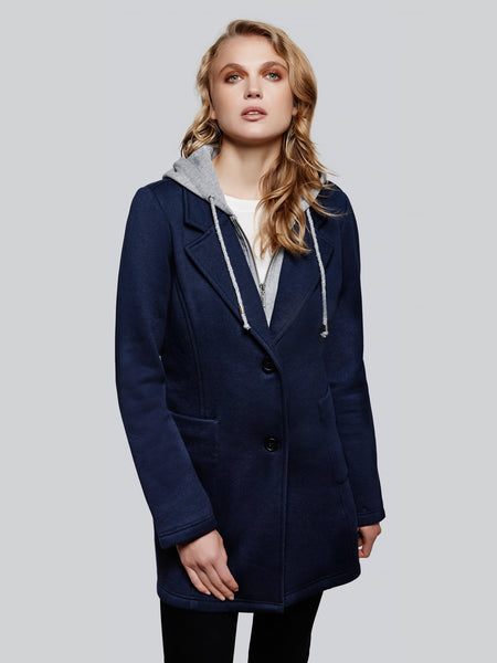 Fleece long blazer with bib and hood