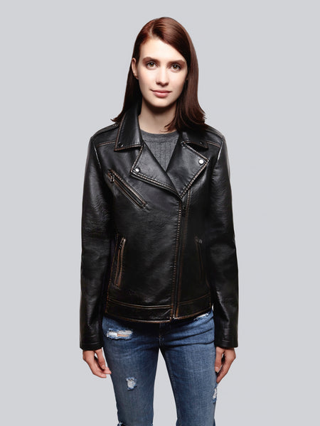 Rubbed out faux leather moto jacket