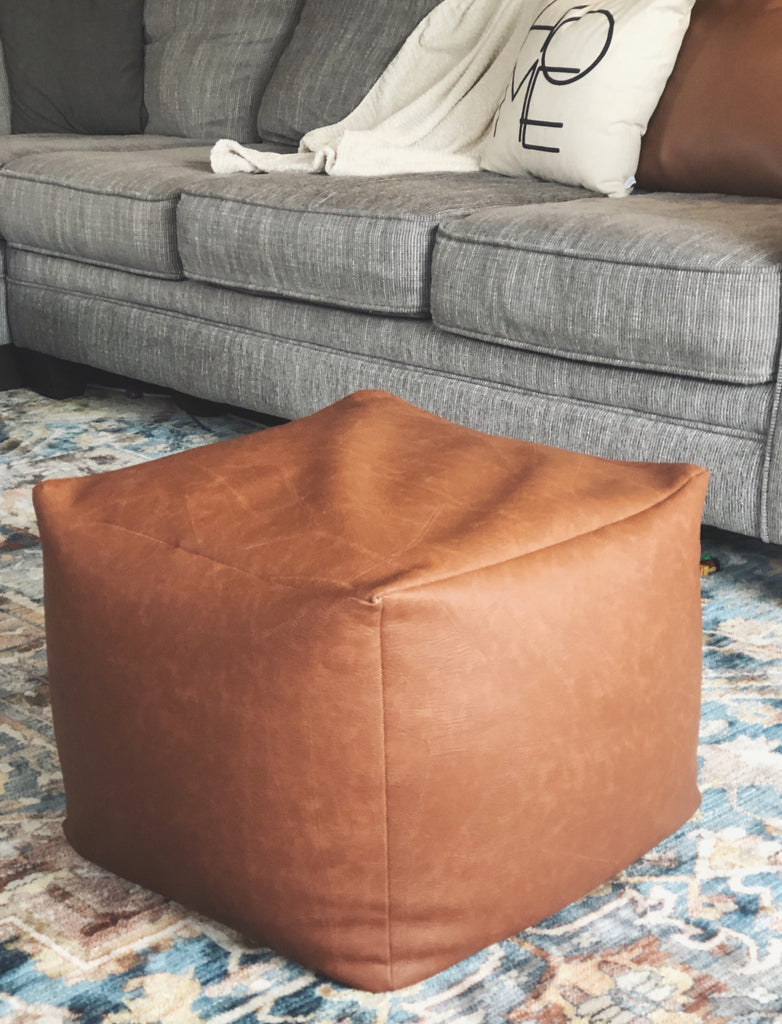 Leather Patchwork Pouf - Harmony House, LLC
