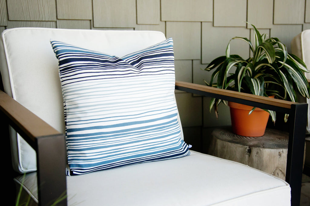 Ombre Blues Outdoor Pillow Cover - Harmony House, LLC