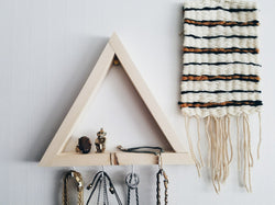 Wood Display Shelf with Hooks