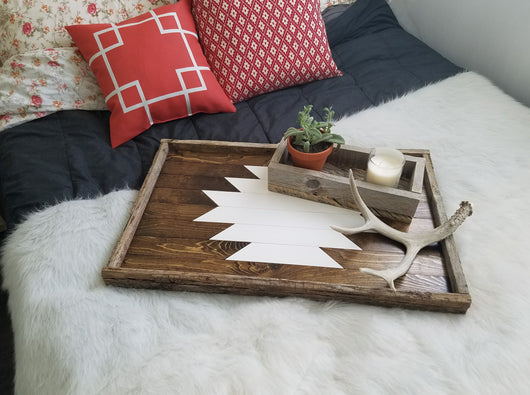 Reclaimed Wood Serving Tray - XL White Aztec