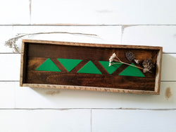 Reclaimed Wood Serving Tray - Green Trees