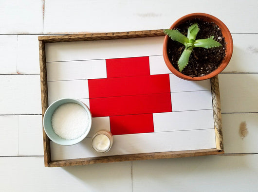 Reclaimed Wood Serving Tray - Swiss Cross