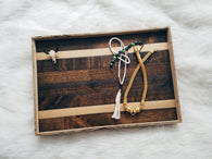 Reclaimed Wood Serving Tray - Gold Stripe