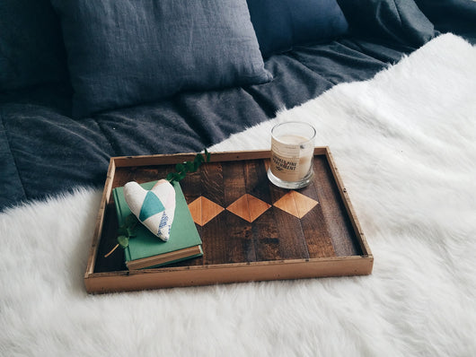 Reclaimed Wood Serving Tray - Diamond