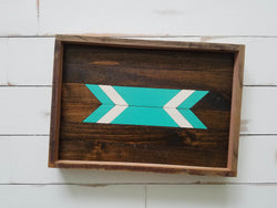 Reclaimed Wood Serving Tray - Turquoise Arrow