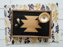 Reclaimed Wood Serving Tray - Black and Gold Aztec