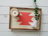 Reclaimed Wood Serving Tray - White and Salmon Aztec