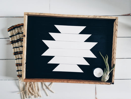 Reclaimed Wood Serving Tray - Black and White Aztec
